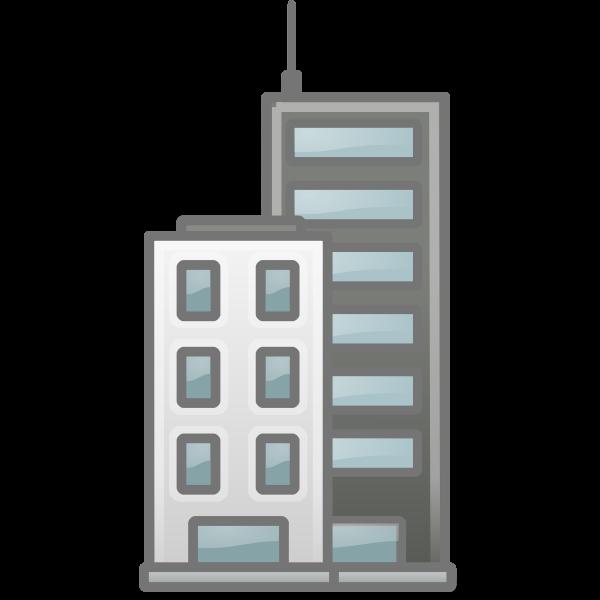 Vector clip art of blue reflective glass tower block