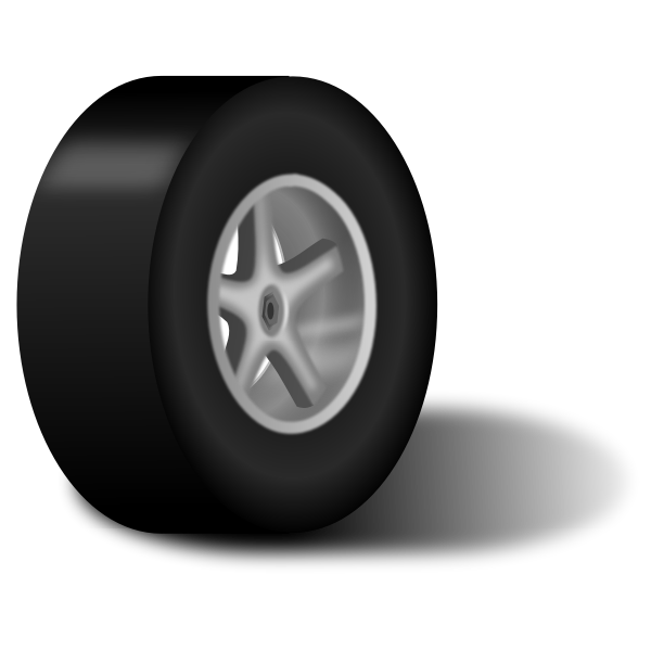 Classic car wheel with shadow vector clip art