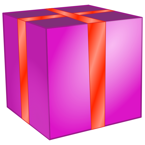 Pink square box with red ribbon vector clip art