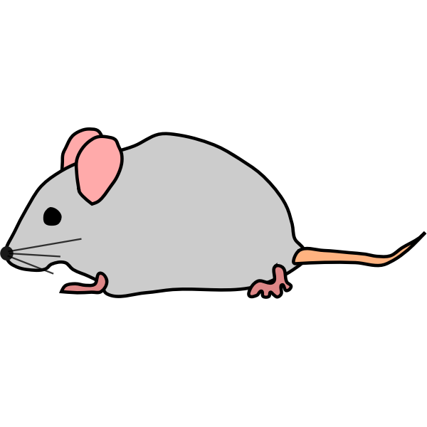 Vector drawing of mouse with pink ears