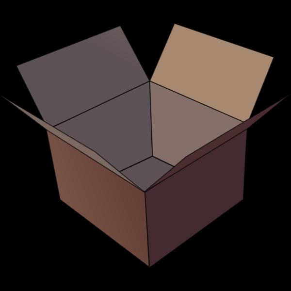 Vector image of dark brown open cardboard box