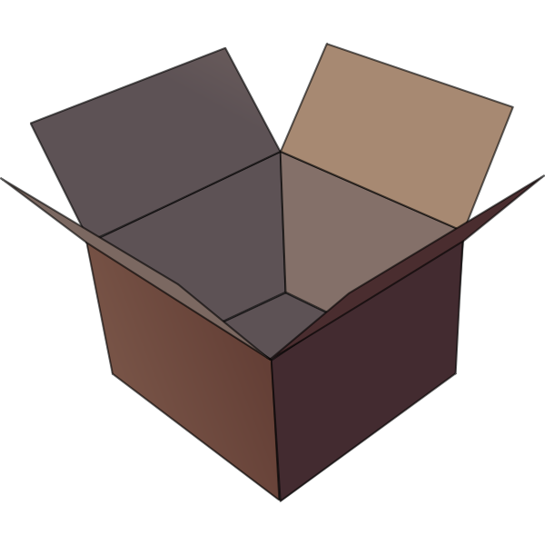 Vector image of dark brown open cardboard box