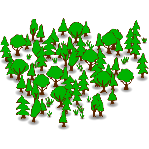 Forest in green color