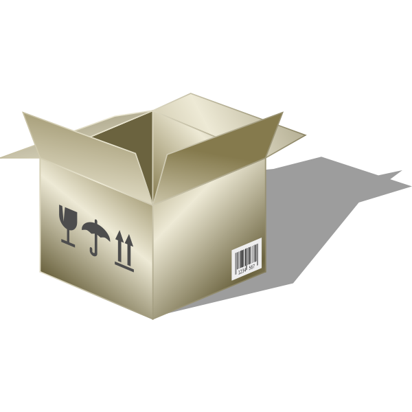 Packaging cardboard case with barcode vector drawing