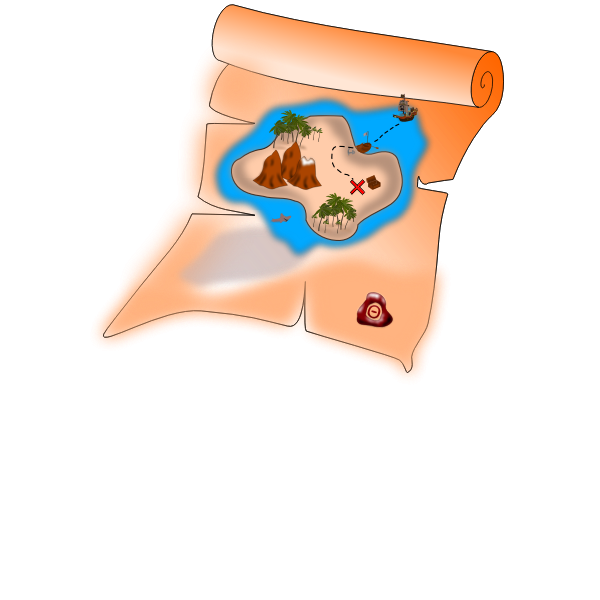 Vector image of old treasure paper map