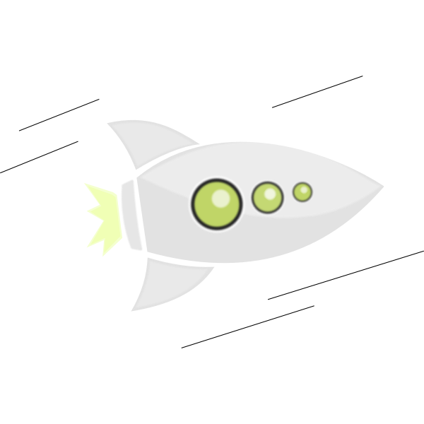 Vector graphics of flying rocket with green windows