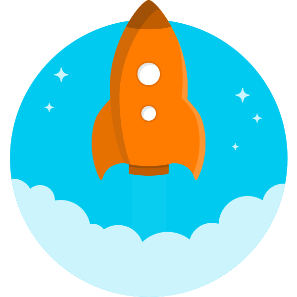 cartoon orange rocket flying up vector drawing