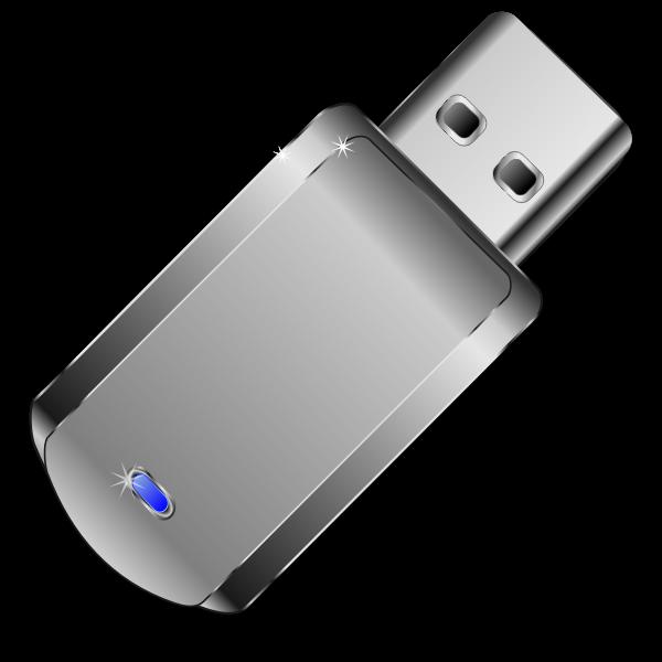 Vector clip art of shiny grey USB stick
