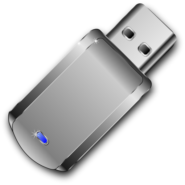 Vector clip art of shiny grey USB stick