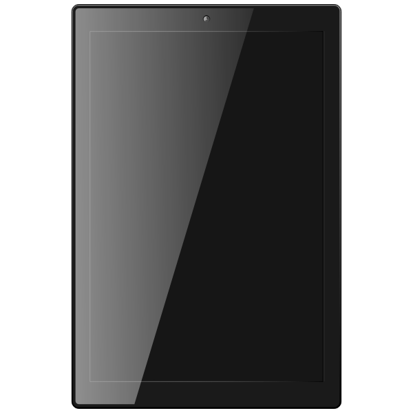 Tablet computer with shadow vector clip art