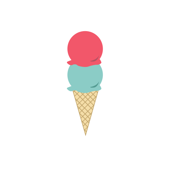 Image of an ice-cream in a cornet with two scoops.