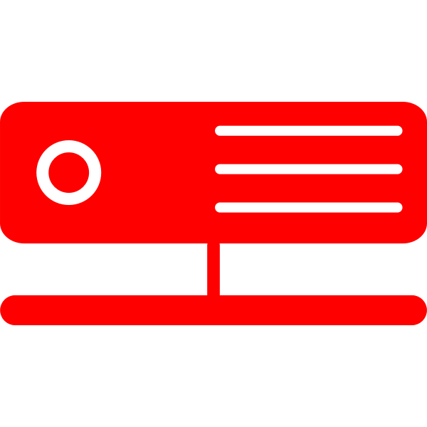 Vector drawing of one red server icon