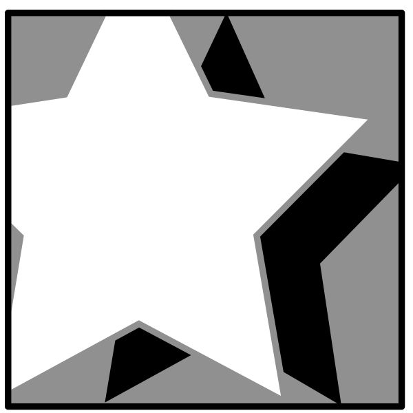 Vector illustration of white star with black shadow