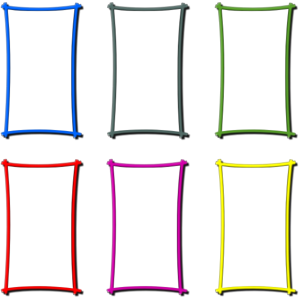 Vector drawing of set of colored frame borders