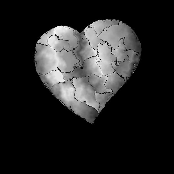 Vector clip art of distorted steel heart