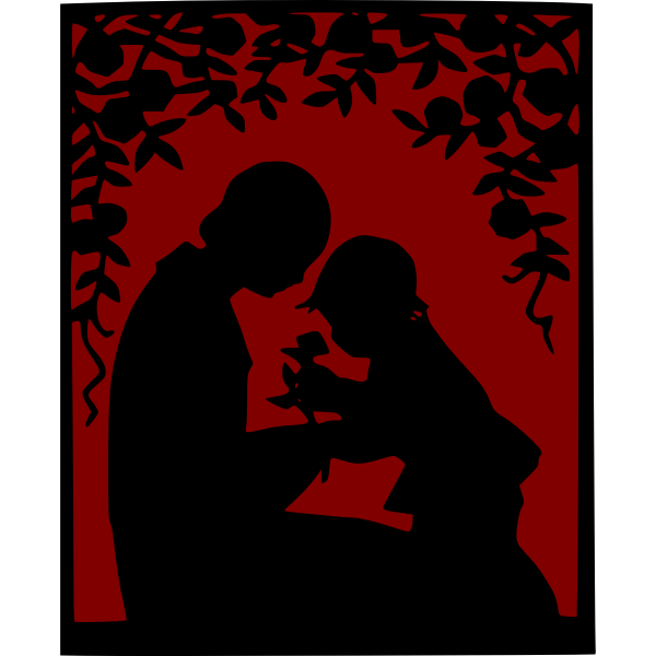 Mother and child scenery vector image