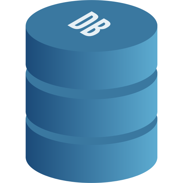 Vector drawing of blue database symbol