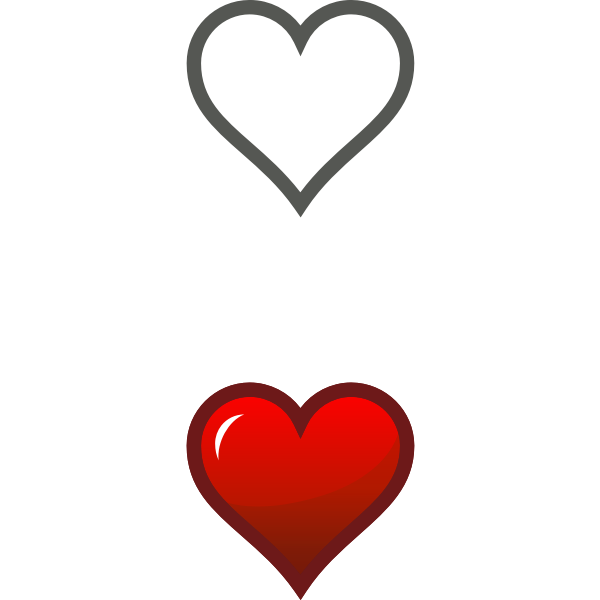 Vector drawing of two heart icons with reflection