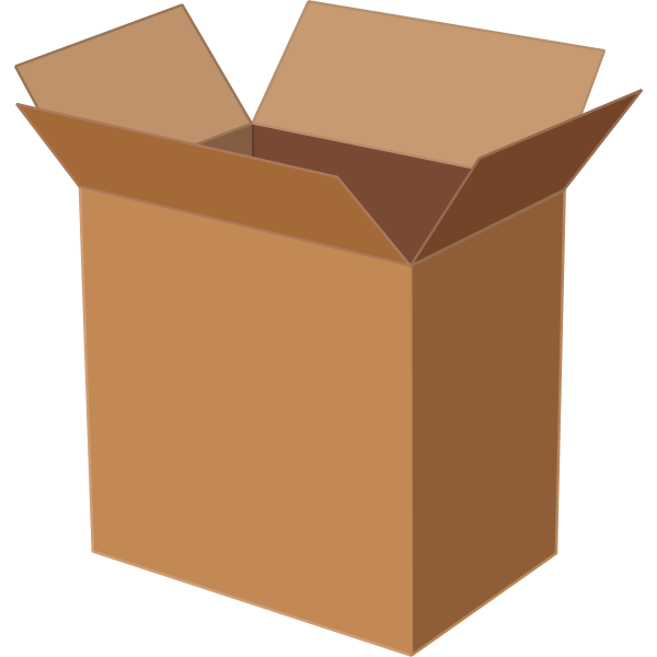Vector illustration of deep cardboard box open