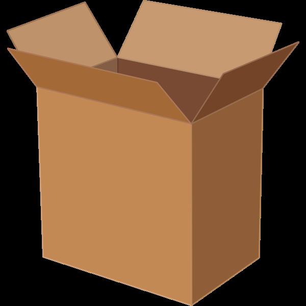 Vector illustration of deep cardboard box open