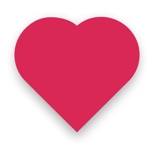 Pink heart with slight shadow vector image