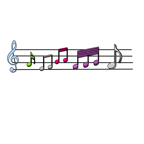 Colorful musical notes vector image