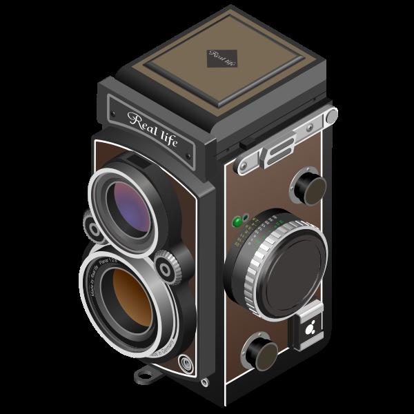 Vector image of twin-lens reflex camera