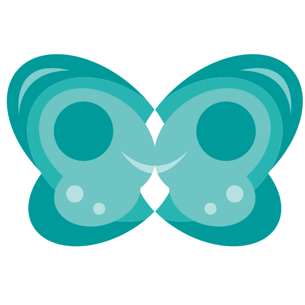 blue smile-shaped butterfly vector graphics