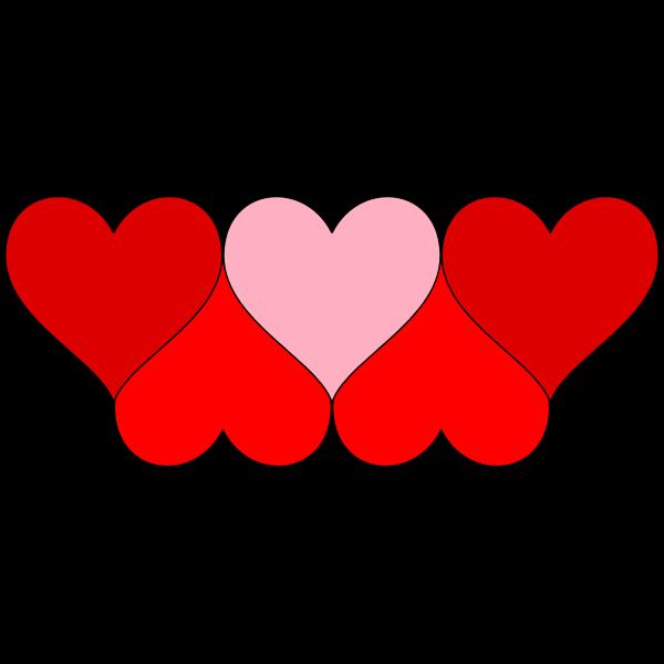 Six hearts decoration vector image