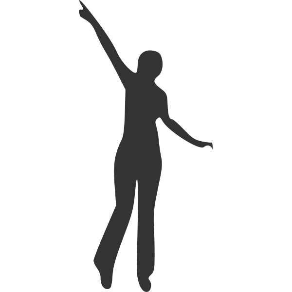 Pointing lady silhouette vector image
