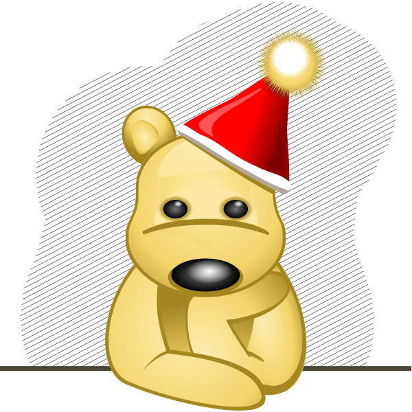 Vector clip art of sad teddy bear with red hat