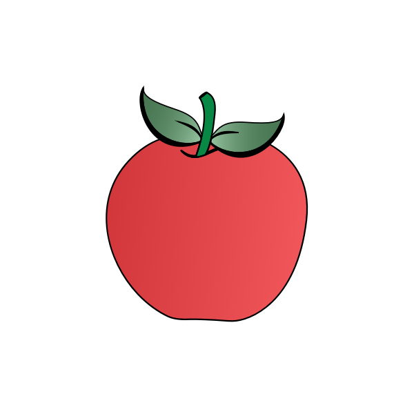 Vector clip art of two leaves apple