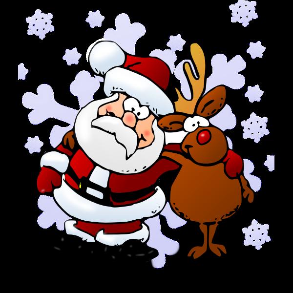 Santa and raindeer color vector illustration