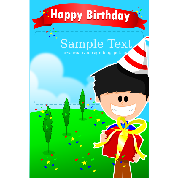 Party boy birthday card template vector illustration