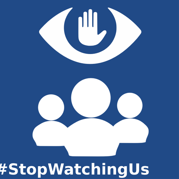 Vector image of stop watching us sign