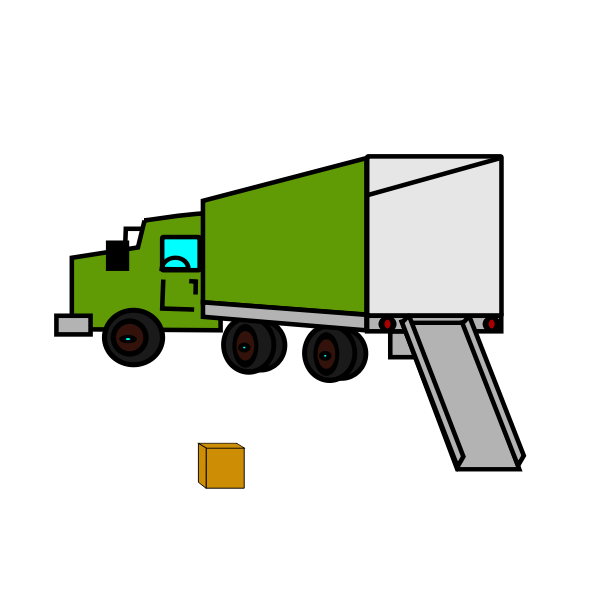 Vector illustration of opened empty moving truck