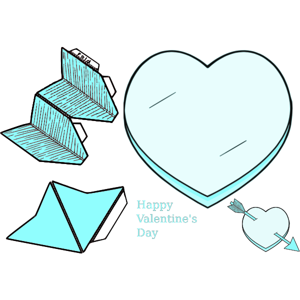 Valentine's day paper heart collection vector clip art