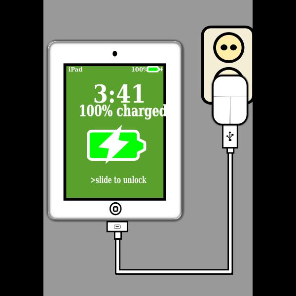 iPad charging vector image