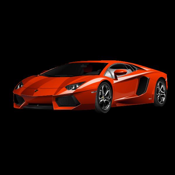 Red Lamborghini vector drawing
