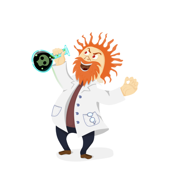 Vector clip art of mad scientist with a retort in his hand