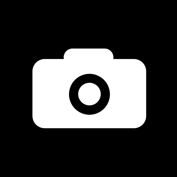 Square black and white camera icon vector clip art
