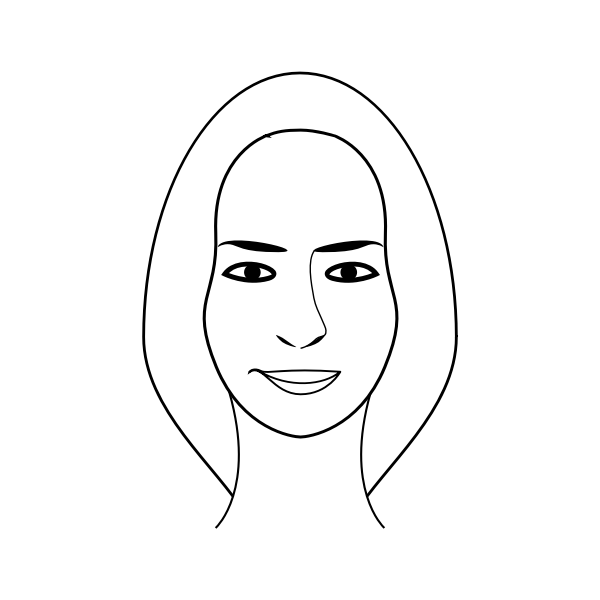 Face of a female person with long hair vector clip art