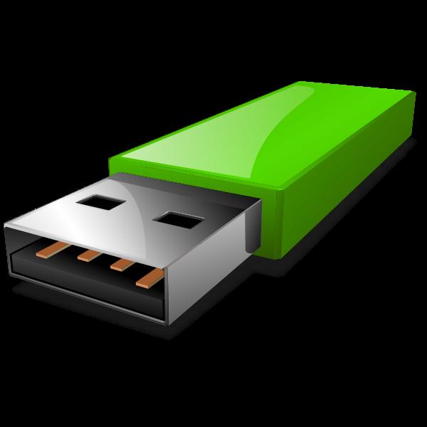 Vector clip art of portable green USB flash drive