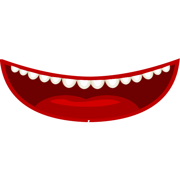 Vector drawing of cartoon style red mouth with white teeth