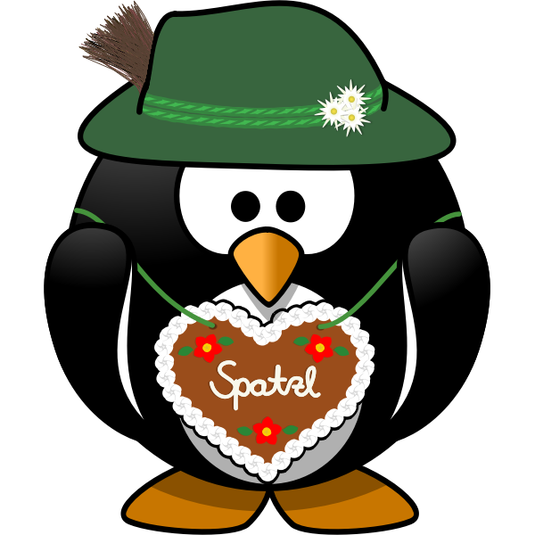 Penguin from the Alps vector clip art