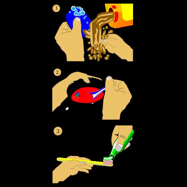 Oral hygiene steps vector illustration