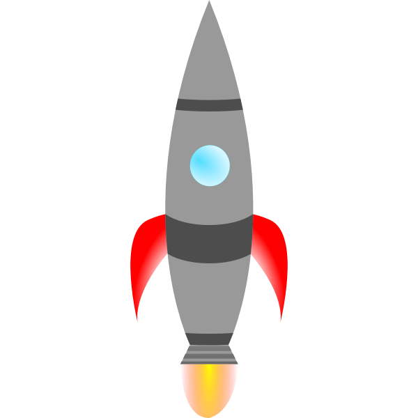 Spiky rocket at takeoff vector illustration