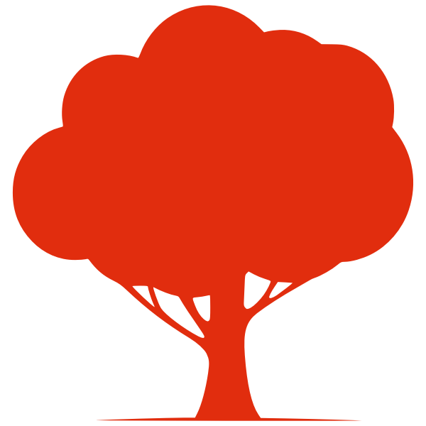 Red silhouette vector graphics of a tree