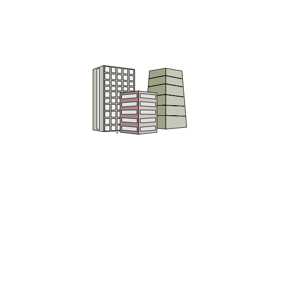 Vector image of three high rise buildings