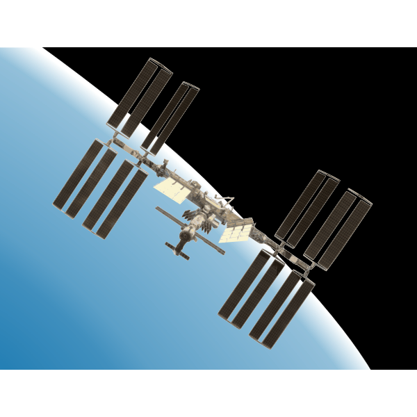 International Space Station with Earth vector illustration